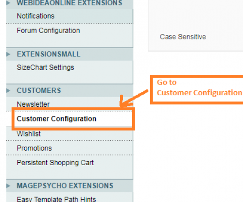 Go to Customer Configuration