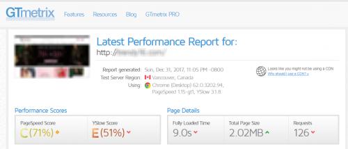 GTmetrix reports before Installing FPC