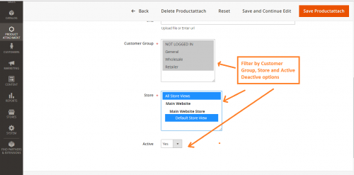 filters like active/deactive, customer groups or stores